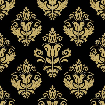 Illustration pour Oriental vector fine texture with damask and floral elements. Seamless abstract background. Black and golden pattern - image libre de droit