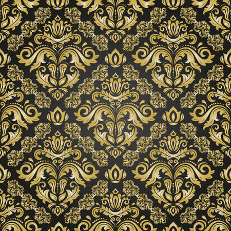 Illustration pour Orient vector classic pattern. Seamless abstract background with vintage elements. Orient background. Black and golden ornament for wallpaper and packaging - image libre de droit