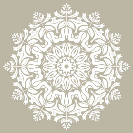 Illustration pour Elegant vintage vector ornament in classic style. Abstract traditional round white pattern with oriental elements. Classic vintage pattern - image libre de droit
