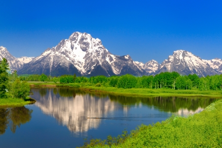 Oxbow Bend At Grand Teton National Park Wallpaper Mural Thumbnail