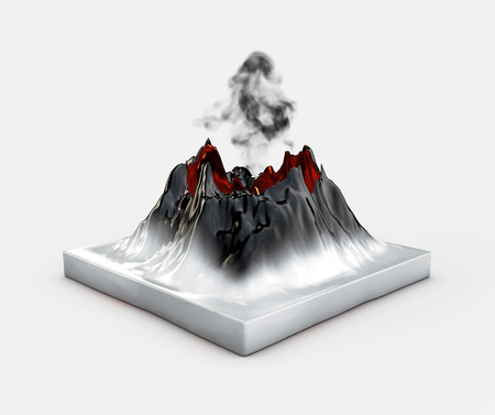 Crater mountain volcano hot natural eruption, 3d illustration.