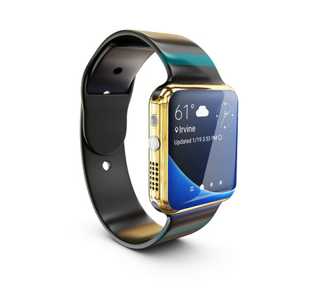 3d Illustration of gold Smart watch on white backgroundの写真素材