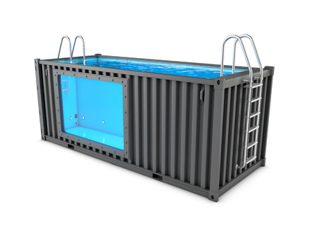 Foto de Converted old shipping container into swimming pool, isolated white 3d Illustration - Imagen libre de derechos