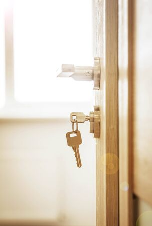 Photo for Door lock , door open in front of room blur background - Royalty Free Image