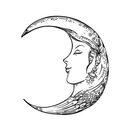 Illustration pour Vector image of a crescent moon. Moon face. Sketching graphics. - image libre de droit
