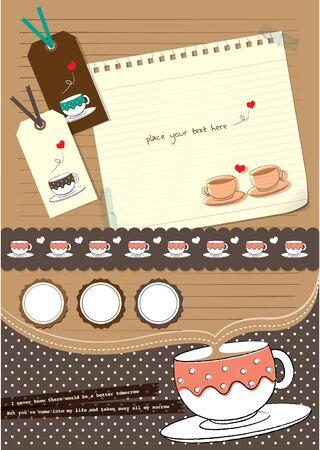 Ilustración de coffee cup scrapbook elements - Imagen libre de derechos