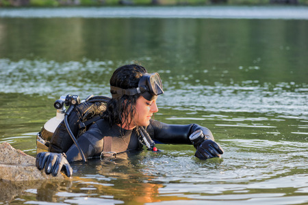 Beautiful woman diver