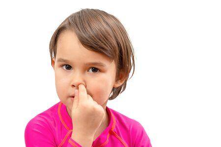 little school girl picking her nose, bad habits of children