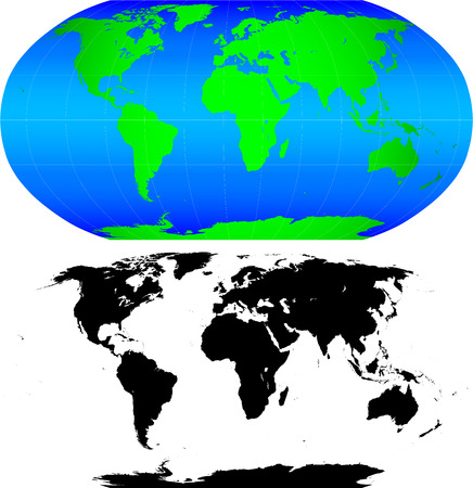 Shape of the Earth continents. Detailed world map silhouette. This illustration is based on the maps of www.cia.gov.