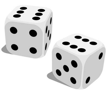 Vector illustration of white dice with double six roll. No gradients of effects.