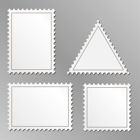 Vector set of blank postage stamps isolated on grey background