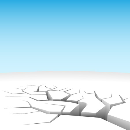 Vector illustration of abstract 3D land cleft isolated on white.