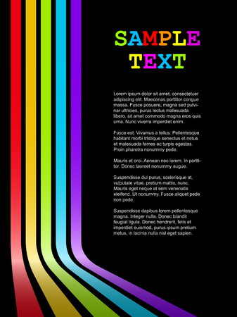 Abstract colorful bent stripes vector background with black copy space.