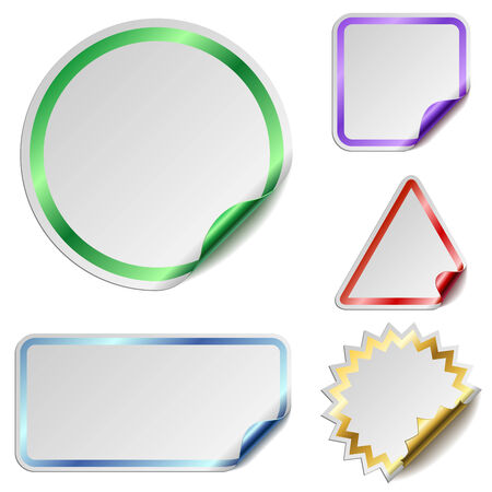 Blank stickers with color glossy back isolated on white background.