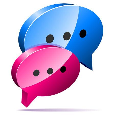3D speech bubbles. Blog, chat or forum web icon.