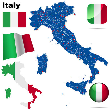 Italy vector set. Detailed country shape with region borders, flags and icons isolated on white background.