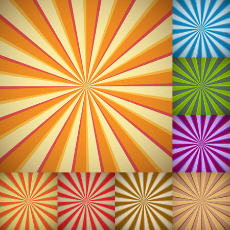 Sunburst colorful backgrounds in different color schemes.