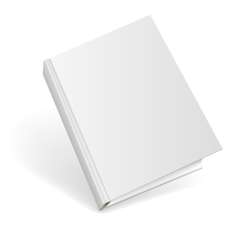 3D blank hardcover book isolated on white background.