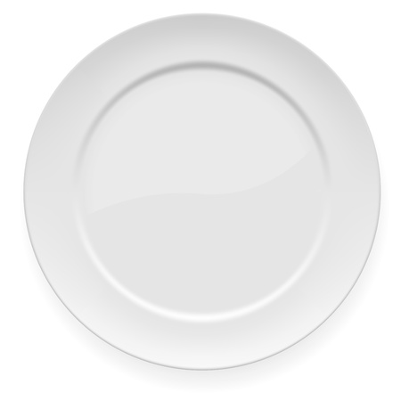 illustration of blank white dinner plate isolated on white.