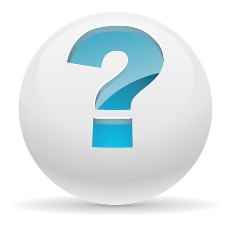 3D white button with blue question mark illustration  Help concept
