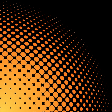 Yellow and orange halftone background with black copy space