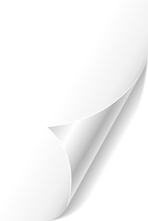 White curled paper page corner template