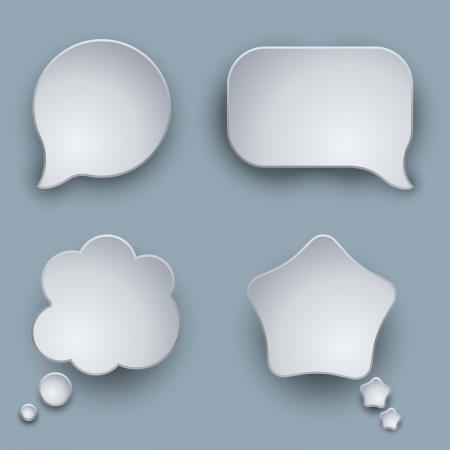Illustration pour Blank white 3D speech balloons vector template with shadow  - image libre de droit