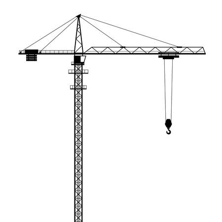 Ilustración de Tower crane vector shape isolated on white background. - Imagen libre de derechos