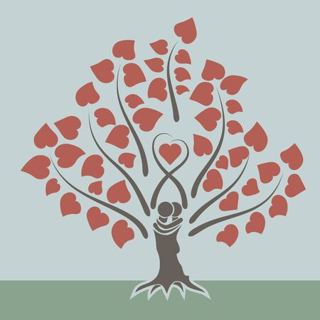 Illustration for Love tree concept flat design card. - Royalty Free Image