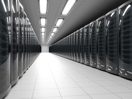 Photo pour Modern data center with server racks technology background. IT cabinet rows 3D rendering. - image libre de droit