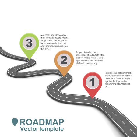 Illustration pour Abstract business roadmap infographic with color pointers vector template. Simple road isolated on white background. - image libre de droit