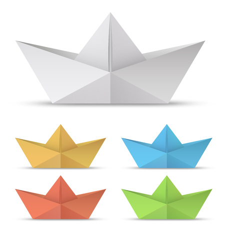 Illustration pour Folded paper boat vector set isolated on white background. - image libre de droit