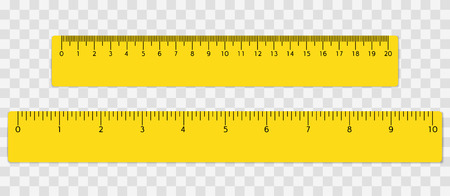 Illustration pour Yellow school ruler with centimeters and inches scale. Vector illustration. - image libre de droit