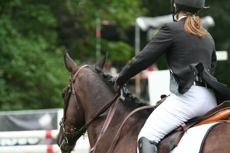 Racing horse with rider in competition