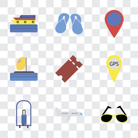 Illustration pour Set Of 9 simple transparency icons such as Sunglasses, Airplane, Bellhop, Gps, Tickets, Parasailing, Location, Flip flops, Cruise, can be used for mobile, pixel perfect vector icon pack on - image libre de droit