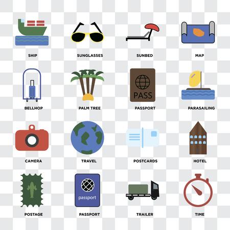 Illustration pour Set Of 16 icons such as Time, Trailer, Passport, Postage, Hotel, Ship, Bellhop, Camera on transparent background, pixel perfect - image libre de droit