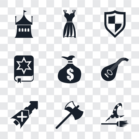 Set Of 9 simple transparency icons such as Witch, Axe, Lance, Lute, Money bag, Spellbook, Shield, Gown, Tent, can be used for mobile, pixel perfect vector icon pack on transparent background
