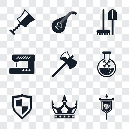 Set Of 9 simple transparency icons such as Banner, Crown, Shield, Poison, Axe, Sewing machine, Tools, Lute, Cup, can be used for mobile, pixel perfect vector icon pack on transparent background