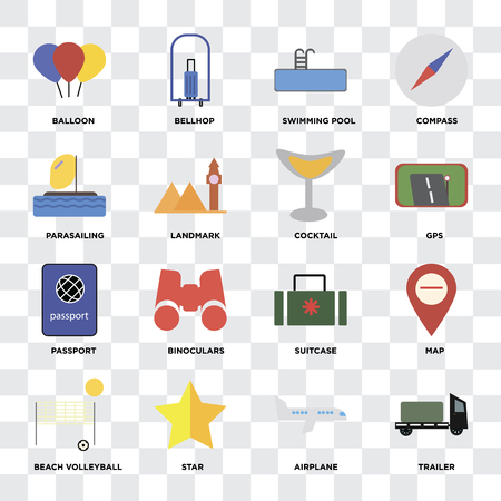Illustration pour Set Of 16 icons such as Trailer, Airplane, Star, Beach volleyball, Map, Balloon, Parasailing, Passport, Cocktail on transparent background, pixel perfect - image libre de droit