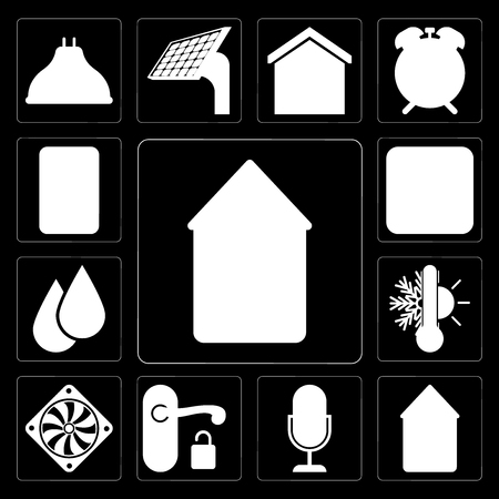 Set Of 13 simple editable icons such as Home, Smart home, Voice control, Handle, Cooler, Thermostat, Water, Switch, Plug on black background