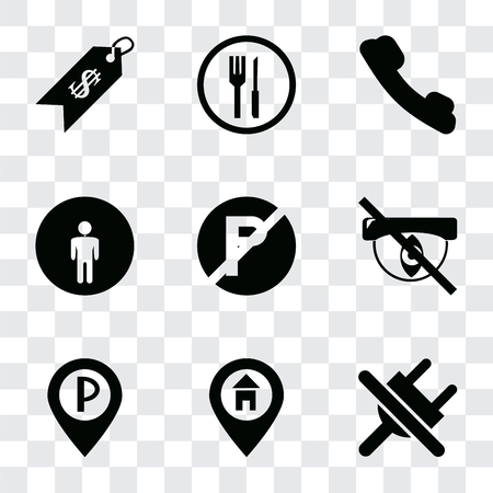 Set Of 9 simple transparency icons such as No plug, Location, Parking, Hidden, parking, Restroom, Telephone, Restaurant, Price, can be used for mobile, pixel perfect vector icon pack on