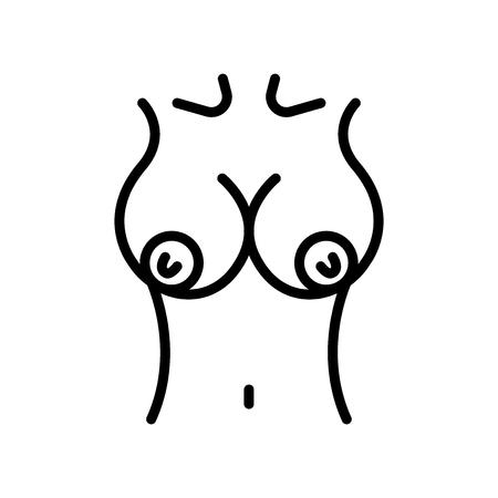 Illustration pour Breast icon vector isolated on white background, Breast transparent sign , line and outline elements in linear style - image libre de droit