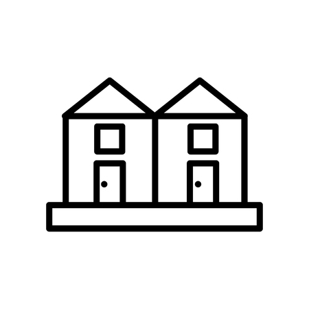 Illustration pour Terraced Houses icon vector isolated on white background, Terraced Houses transparent sign , line or linear sign, element design in outline style - image libre de droit