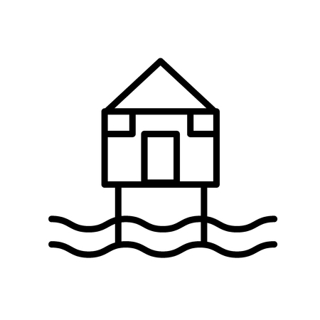 Illustration pour Beach Hut icon vector isolated on white background, Beach Hut transparent sign , line or linear sign, element design in outline style - image libre de droit