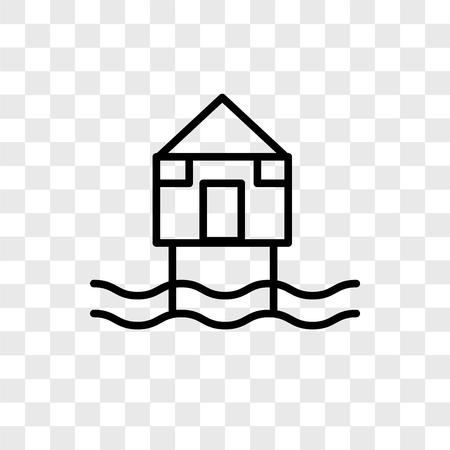 Illustration pour Beach Hut vector icon isolated on transparent background, Beach Hut logo concept - image libre de droit