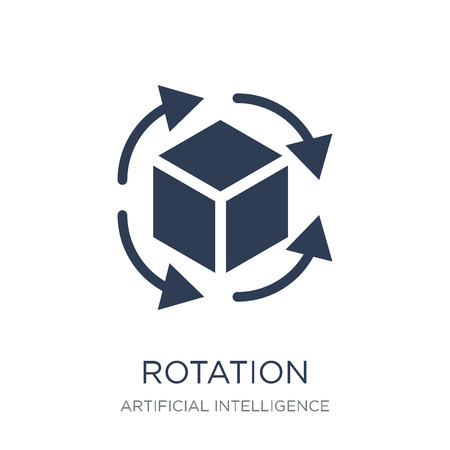 Ilustración de Rotation icon. Trendy flat vector Rotation icon on white background from Artificial Intelligence, Future Technology collection, vector illustration can be use for web and mobile, eps10 - Imagen libre de derechos