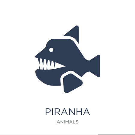 Illustration pour Piranha icon. Trendy flat vector Piranha icon on white background from animals collection, vector illustration can be use for web and mobile, eps10 - image libre de droit