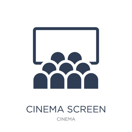Illustration pour cinema screen icon. Trendy flat vector cinema screen icon on white background from Cinema collection, vector illustration can be use for web and mobile, eps10 - image libre de droit