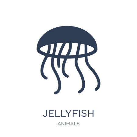 Illustration pour Jellyfish icon. Trendy flat vector Jellyfish icon on white background from animals collection, vector illustration can be use for web and mobile, eps10 - image libre de droit