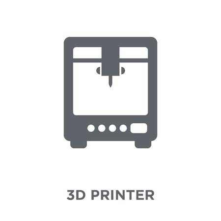 Ilustración de 3d printer icon. 3d printer design concept from Electronic devices collection. Simple element vector illustration on white background. - Imagen libre de derechos